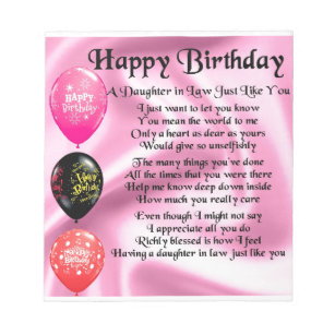 Birthday Daughter In Law Notepads Zazzle