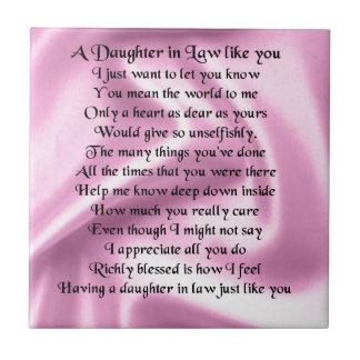 Daughter in Law Poem - Pink Silk Ceramic Tile