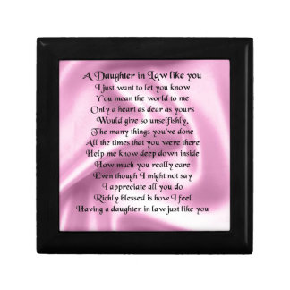 Daughter in Law Poem - Pink Silk Jewelry Box