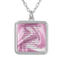 Daughter in Law Poem - Pink Silk Silver Plated Necklace