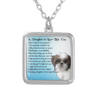 Daughter in Law Poem - Shih-Tzu Design Silver Plated Necklace