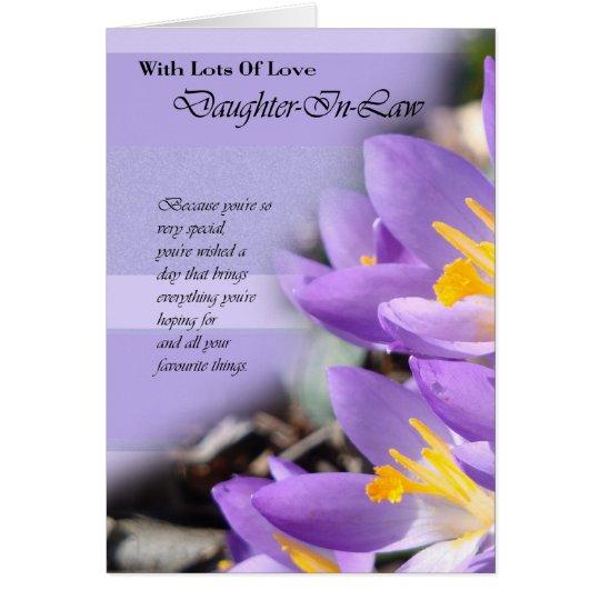 Daughter In Law purple crocus Birthday Card