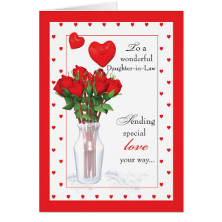 daughter in law valentines day red roses hearts card - Valentines Day Daughter