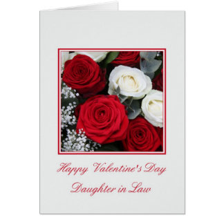Daughter in Law Valentine's Day red white roses Card
