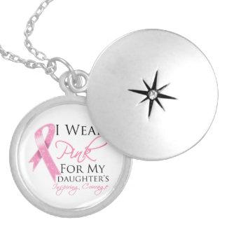 Daughter Inspiring Courage Breast Cancer Round Locket Necklace