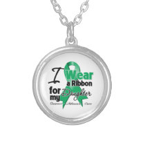 Daughter - Liver Cancer Ribbon.png Silver Plated Necklace