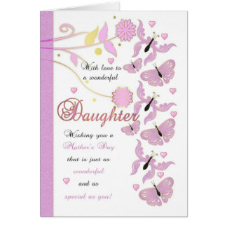 Daughter Mother's Day Card With Flowers And Butter