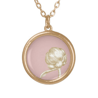 Daughter Necklace, Peony Bloom Round Pendant Necklace