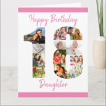 "Daughter Number 18 Photo Collage Big 18th Birthday Card<br><div class=""desc"">Personalize this big 18th birthday card with up to 12 different photographs. Designed for your daughter (although 'daughter' can be edited to a name or whatever you want), the number 18 photo collage is a thoughtful way to give a birthday card with a unique and special quality. The template is...</div>"