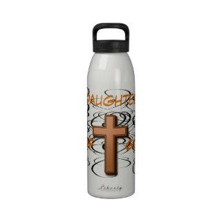 Daughter of God Black Swirls with Cross Liberty B Reusable Water Bottles