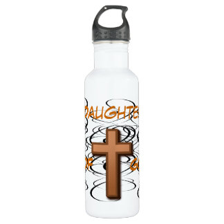 Daughter of God/ Black Swirls with Cross Liberty B Water Bottle