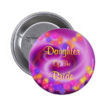 Daughter Of The Bride Swirly Heart Button