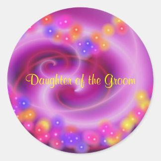 Daughter of the Groom Swirly Heart Sticker