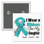 Daughter - Ovarian Cancer Ribbon 2 Inch Square Button