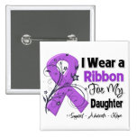 Daughter - Pancreatic Cancer Ribbon 2 Inch Square Button