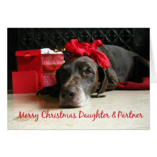 Daughter & Partner merry christmas pointer and gif Greeting Card