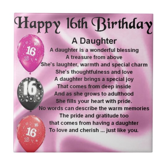 Daughter Poem 16th Birthday Ceramic Tile