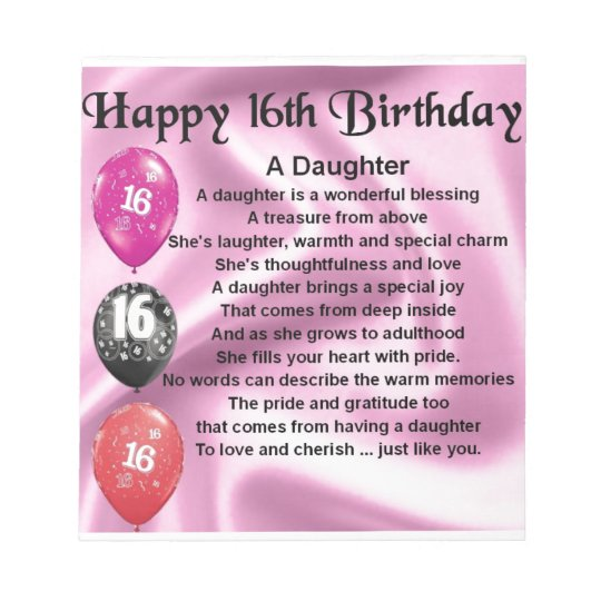 Personalised Drinks Coaster  Daughter   Poem   16th Birthday  Design