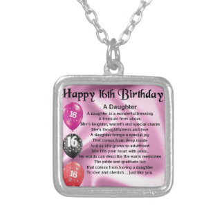 Daughter Poem  16th Birthday Silver Plated Necklace