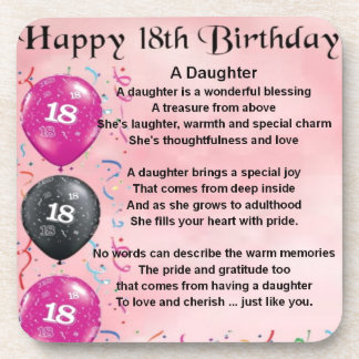 Daughter Poem - 18th Birthday Coasters