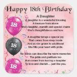 Daughter Poem - 18th Birthday Stickers