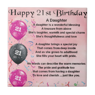 Daughter Poem 21st Birthday Ceramic Tile