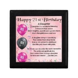 Daughter Poem 21st Birthday Keepsake Box