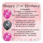 Daughter Poem 21st Birthday Square Sticker