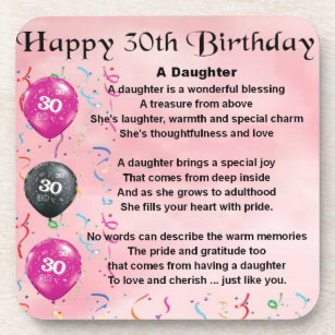 Daughter Poem 30th Birthday Coaster