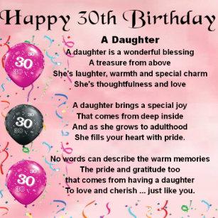 Daughter Poem 30th Birthday Coaster