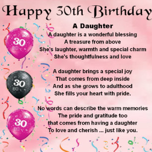 Daughters 30th Birthday Gifts On Zazzle