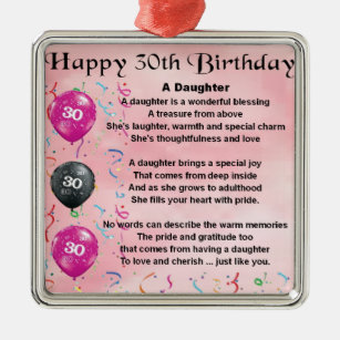 Daughter Poem 30th Birthday Metal Ornament