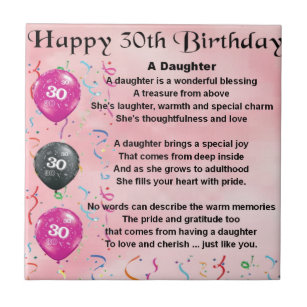 Daughter Poem 30th Birthday Tile