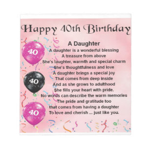 Daughter Poem 40th Birthday Notepad