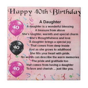 Daughter Poem 40th Birthday Tile