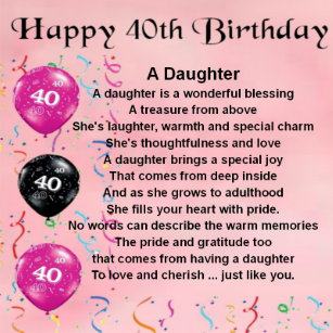 Daughter Poem 40th Birthday Wrapping Paper