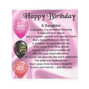 Daughter Poem Happy Birthday Notepad