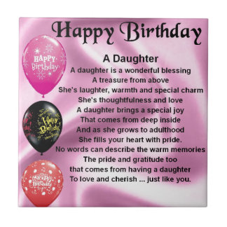 daughter poem  happy birthday small square tile