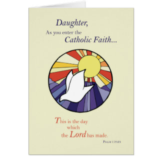 Daughter RCIA Catholic Dove Sun Circle, Rite of Ch Card