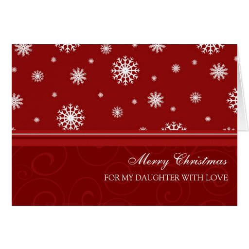 Daughter Red and White Merry Christmas Card