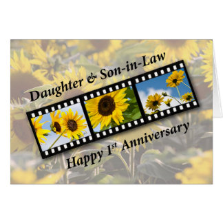 Daughter & Son-in-Law 1st Wedding Anniversary Sunf Card