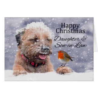 Daughter & Son-in-law, Christmas, Border Terrier Card