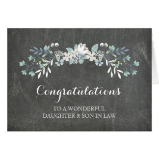 Daughter & Son In Law Congratulations Chalkboard Greeting Card