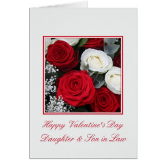 Daughter Son in Law red and white roses Card