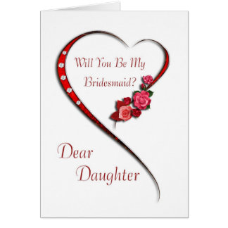 Daughter, Swirling heart Bridesmaid invite Greeting Card