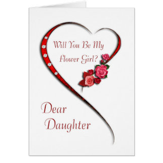 Daughter, Swirling heart Flower Girl invite Cards