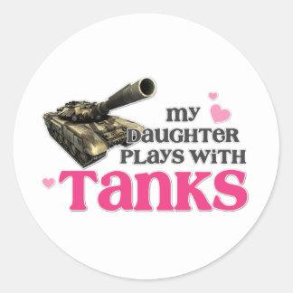 Daughter tanks classic round sticker