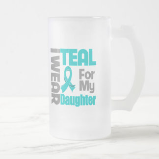 Daughter - Teal Ribbon Ovarian Cancer Support 16 Oz Frosted Glass Beer Mug