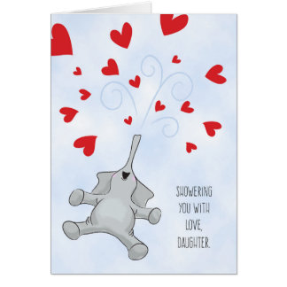 Daughter Valentine's Day Elephant & Hearts Card