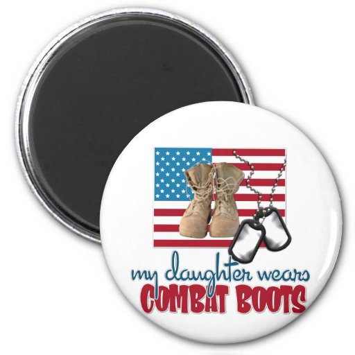Daughter wears combat boots 2 inch round magnet